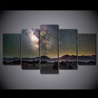 Wholesale Abstract Sky Painting Canvas - HD Printed 5 Piece Canvas Art Galaxy Night Starry Sky Modern Wall Pictures for Living Room Free Shipping