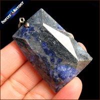 ingrosso blu guarisce-Gioielli da uomo Collana con ciondolo di cristallo Collana in pietra naturale blu per sodalite Agata Reiki Healing Moda Bijoux Donna RS602