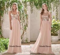 uzun oymalı şampanya nedime elbiseleri toptan satış-Şampanya Payetli Şifon Nedime Elbiseler Uzun Kat Uzunluk Iki Stil Düğün Konuk Elbiseler için Onur Hizmetçi Kadınlar Custom Made