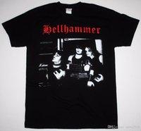 sıcak baskı makinesi toptan satış-Sıcak Satış 100% Pamuk Baskı Makinesi O-Boyun Kısa Kollu Erkek Hellhammer Band Triumph Ölüm Siyah T Gömlek T Shirt