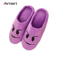 женские тапочки оптовых-Shoes Women slippers Soft Velvet Indoor Floor Expression Sneakers Cute Emoji Home Shoe Soft Bottom Winter Warm Shoes for Bedroom
