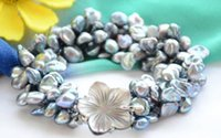 keshi renacidas perlas barrocas al por mayor-4strands lamina negra de 9mm BAROQUE KESHI REBORN PEAR pulsera 8 pulgadas