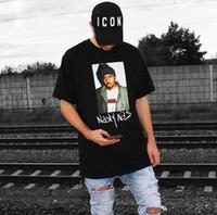 foto homens hip hop venda por atacado-17FW Box logotipo Hip Hop Desagradável Nas FOTO Tee Skate Cool Rapper T-shirt Das Mulheres Dos Homens Casuais Tee Moda HFLSTX022