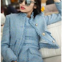 rosa jacken outfits großhandel-Frauen 2 Stück kurze Sätze Kleid 2018 Frauen Designer Outfits Blau und Rosa Tweed Jacke Mantel + zwei Stücke ärmellose Quaste Kleid Sets