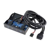 Wholesale Hd Audio Ports - USB 3.0 2-Port 3.5 Inch Metal Front Panel USB Hub with 1 HD Audio Output Port+1 Microphone Input Port EM88