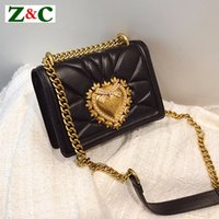 Wholesale black metal evening bag for sale - Group buy Ladies Metal Love Heart Pattern Chain Shoulder Crossbody Bags High Quality Women Leather Handbags Clutch Evening Bags