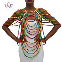 châle africain achat en gros de-BRW Africain Ankara Colliers Bijoux Conversion Pièce Corde Collier Châle Tribal Africain Perles À La Main Bijoux Collier WYX26