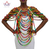 mantón africano al por mayor-BRW Africano Ankara Collares Joyería Pieza de Conversión Cuerda Collar Mantón Tribal Perlas Africanas Collar Hecho A Mano Joyería WYX26