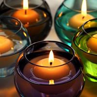 ingrosso luci naturali guidate senza fili-Candele di galleggiamento piccole candele inodore di galleggiamento dell'acqua rotonde per la decorazione domestica della festa nuziale Candele 50pcs / set
