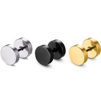 pendientes de aro de hombres al por mayor-8 MM Pendientes de Acero Inoxidable Mujeres Hombres Oro Plata Negro Barbell Ear Stud Pendiente Pendiente envío gratis