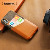 Wholesale remax cards - REMAX Business Phone Case with Card Pocket for IPhone X Absolute Protection PU Fabric Patchwork Back Cover Fitted Phone Bag Case