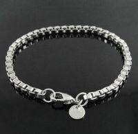 verres de murano achat en gros de-3mm Carré Rolo Argent Lien Chaîne Bracelet Boîte Ronde Bracelet pour Hommes Femmes Bijoux Charmes Bracelets Fit Murano Lunettes Perles
