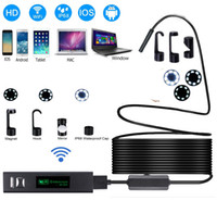 ingrosso mini macchina fotografica wireless per android-WIFI Endoscopio Camera HD 1200P 1-5M Mini impermeabile Hard Wire Wireless 8mm 8 LED periscopio macchina fotografica per PC Android Endoscopio IOS 2018