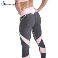Wholesale Female Bodybuilding - Simenual 2017 Hot Sale Patchwork Heart Hip Leggings Sportswear For Women Bodybuilding Grey Slim Sexy Legging Female Pants Sale