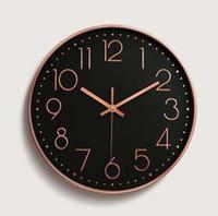 relojes de pared modernos al por mayor-Reloj de pared Reloj Moda Moderna Minimalista simple Colgante Redondo Hogar Rural Mute Sala de estar decoración artesanía decoración para el hogar