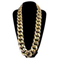 conjunto de joyas de fiesta africana al por mayor-35 MM Gran Collar de Cadena Chunky Declaración Chapado En Oro de Los Hombres Joyería de Plástico Africano Conjunto de Joyería Etíope Accesorios 80's Party envío gratis