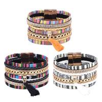 encantos de pulseiras venda por atacado-Muito bem 3 Cores Borlas Charme Cristal Pulseira Magnética Snap Multilayer Pulseira Bangel Cuff Chains Moda Jóias para Mulheres Presente