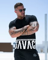 Wholesale male personality - Men Summer Fashion Personality T Shirt Bodybuilding Muscle Male Leisure Gyms Short Sleeves Slim Fit Tee Tops Clothing