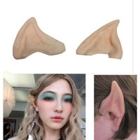 Wholesale latex ear tips - Halloween Party Cosplay Accessories Latex Soft Pointed Prosthetic Wizard Elf Fairy Hobbit Vulcan Spock Alien Costume Tips Ears