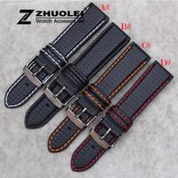 кожаный ремешок оптовых-New 18mm 20mm 21mm 22mm 23mm Durable Orange Stitching Carbon Fiber Mens Black Genuine Leather with black clasp Watch Band Strap