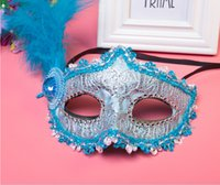 Wholesale princess face painting resale online - 2019 Wholesales Explosion Halloween masquerade Venice patch painted princess party mask Christmas mask