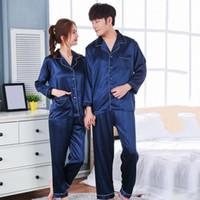 conjuntos de pijamas para parejas al por mayor-Hombres de las mujeres del diseño ocasional material de satén suave Seda satén pijama Establece manga larga ropa de dormir pareja ropa de dormir Homewear Casual