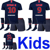 Wholesale baby boys white shirt - 18 19 NEYMAR JR Kids soccer jersey 2018 2019 Child MBAPPE CAVANI DI MARIA T SILVA PASTORE baby football shirt Maillot de foot AAA Thailand