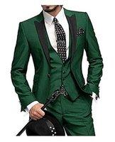 klassisches italienisches design großhandel-Klassischer Entwurf der klassischen Art des kundenspezifischen Grüns der Männer selbst-anziehend Hochzeitsballkleid-Bräutigamkleid 3 Stück eingestellt
