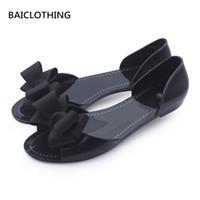 lindas sandalias de lazo negro al por mayor-BAICLOTHING sandalias de mujer mujer casual casa sandalias de playa señora linda pajarita negra sandalias de jalea dama casual suave