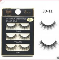 Wholesale Thick Curly Hair Extensions - Can Mix Stye 3Pairs New 3D Natural Cross thick Curly Messy False Eyelashes long makeup 3D Lashes Fake Eye Lashes Extension Make Up Beauty