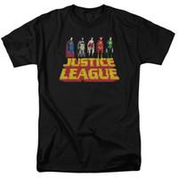 stand de videogame venda por atacado-Liga da Justiça de Vídeo Game STANDING ACIMA T-Shirt Manga Curta Barato Venda de Algodão T Shirt Design de Moda Frete Grátis