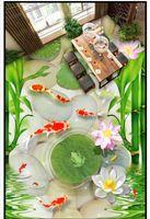 Wholesale lotus paper wallpaper - Customized 3D wallpaper floor painting wall paper Waterproof Self-adhesive Flooring Wall Sticker Goldfish cobblestone lotus frog 3D floor