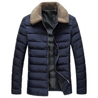 Wholesale Mens Winter Snow Coats - 2017 New Men Winter Warm Jacket for Men Coats Casual Mens Thick Solid color Male Slim Cotton Padded Fit Snow Cold Outerwear