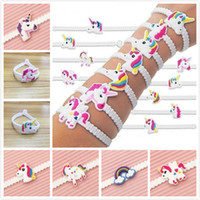 Wholesale wristband pvc - Factory Environmental Protection Soft PVC Cartoon Unicorn Silicone Bracelet Kids Unicorn Wristband Birthday Party Rubber Band