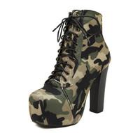 Wholesale Elastic Items - Autumn Winter Women Ankle Boots Super High Heels Lace Up Leather 4.5cm Platform Camouflage Short Boot Women Shoes Item No. XZ-10