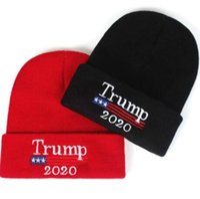 Wholesale elastic beanie hat resale online - Trump Knitted Hats Winter Cap Kid Elastic Outdoor Boys Girls Presidential Election Hat Skullies Beanies Outdoor Beanies CCA10717