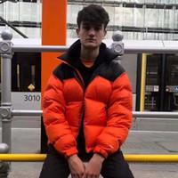 manteau matelassé achat en gros de-19FW THENF coton rembourré Veste Logo broderie Coats couple manteau d'hiver Montagne d'extérieur chaud Mode Rose Orange Noir HFHLYRF008