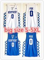 camisetas de baloncesto juvenil al por mayor-2018 Customized NCAA Kentucky Wildcats # 0 DeAaron Fox jerseys de baloncesto cosido bordado jerseys para hombre talla YOUTH S-5XL