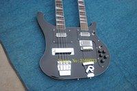 e-gitarre hals palisander griffbrett großhandel-Kostenloser Versand Personal Tailor schwarz Double Neck E-Gitarre 64 Bass Saiten Palisander Griffbrett kann Bilder Anpassung senden