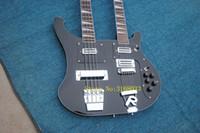 chinesische hohlkörpergitarre großhandel-Kostenloser Versand Personal Tailor schwarz Double Neck E-Gitarre 64 Bass Saiten Palisander Griffbrett kann Bilder Anpassung senden