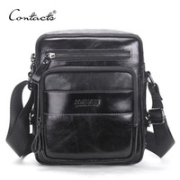 Wholesale small wax bags - CONTACT S New Arrival Genuine Wax Leather Men s Cross Body Bag Shoulder Bags For Men Messenger Bag Portfolio High Quality