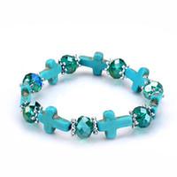 ingrosso braccialetto delle donne asiatiche-Moda Donna Bracciale Vintage Gioielli Agata Turchesi Perle di cristallo Colorato asiatico Styple Diamond Star Cuore Croce Perline Bracciali