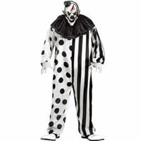 c3549b06d 2018 plus size listrado matar palhaço trajes do partido homens jumpsuit  máscara assassino palhaço traje Halloween Party assustador trajes cosplay  sexy