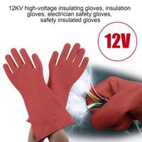 elektrische gummihandschuhe großhandel-Sichere elektrische isolierende Handschuhe 1 Paar Gummi-Elektriker 100% Sicherheits-Handschuhe 40cm Arbeit C2