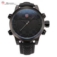 Wholesale shark sport watch digital - 2016 Shark Sport Watch LED Digital Dual Time Stainless Steel Auto Date Alarm Leather Band Black Male Clock Men Relojes   SH206