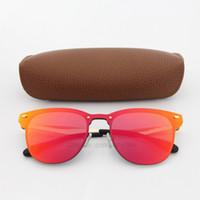 lunettes de soleil de marque achat en gros de-1 pcs Top lunettes de soleil de qualité pour Femmes Mode Vassl Marque Designer Or Cadre En Métal Rouge Coloré Lunettes de Soleil Lunettes Come Come Brown Box