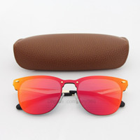 ingrosso metallo di qualità-1pcs Occhiali da sole di alta qualità per le donne Fashion Vassl Progettista di marca Gold Metal Frame Red Occhiali da sole colorati Eyewear Vieni Brown Box