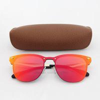 красочные очки оптовых-Высокое качество солнцезащитные очки для женщин мода Vassl Марка дизайнер золотой металлический каркас Красный красочные солнцезащитные очки приходят коричневый коробка