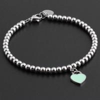 Wholesale titanium snake chain resale online - Hot Titanium Steel Bracelets classic Jewelry Heart Bracelet For Women Charm beads Bracelet pulseiras Jewelry