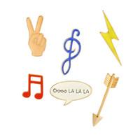 Wholesale drop ship music - Fashion Cute Cartoon Brooch Pins Music Note Arrow Lightning Enamel Brooches Lapel Pins Badge for Women Girls drop shipping